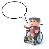 3d Boy in a wheelchair with speech bubble. 3d render of a boy in a wheelchair with empty speech balloon Stock Photography