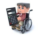 3d Boy in wheelchair uses a calculator. 3d render of a boy in a wheelchair holding a calculator Royalty Free Stock Photos
