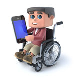 3d Boy in wheelchair using his smartphone. 3d render of a boy in a wheelchair holding a smartphone Stock Photography