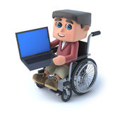 3d Boy in wheelchair using a laptop pc. 3d render of a kid in a wheelchair holding a laptop pc Stock Photography