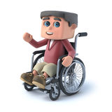 3d Boy in wheelchair is waving hello. 3d render of a kid in a wheelchair waving hello Stock Image