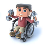 3d Boy in wheelchair works out with weights. 3d render of a boy in a wheelchaird lifting weights Royalty Free Stock Photo