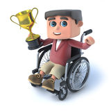 3d Boy in wheelchaird has won a gold cup. 3d render of a boy in a wheelchair holding a gold cup Royalty Free Stock Photography