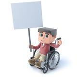 3d Boy in wheelchaird holding a placard. 3d render of a boy in a wheelchair holding up a placard Royalty Free Stock Photos