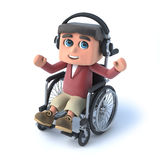 3d Boy in wheelchaird listens on his headphones. 3d render of a boy in a wheelchair wearing headphones Royalty Free Stock Photos