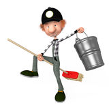 3d boy working.cleaner. The 3D boy working with a mop. Illustration. Cartoon. cleaner Royalty Free Stock Image