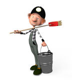 3d boy working.cleaner. The 3D boy working with a mop. Illustration. Cartoon. cleaner Royalty Free Stock Photography