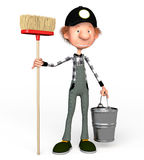 3d boy working. The 3D boy working with a mop. Illustration. Cartoon Stock Photography