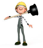 3d boy working. The boy working on production. Sanitary technician Royalty Free Stock Photography