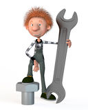 3d boy working. The boy working on production. With a wrench Stock Photos