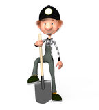 3d boy working. The boy working with a shovel Royalty Free Stock Images
