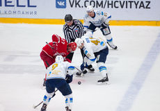 D. Boyd (41) and Y. Koksharov (27) on face-off Stock Photography