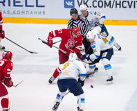 D. Boyd (41) and Y. Koksharov (27) on face-off Royalty Free Stock Image