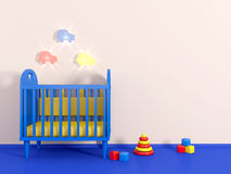 3d Boys room in blue color Royalty Free Stock Photography