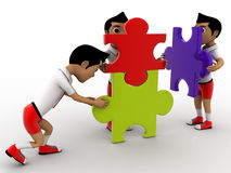 3d boys solve puzzle as team concept Royalty Free Stock Photo