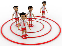 3d boys standing on different position on target board concept Stock Photos