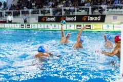 米兰, 10月11日:D 射击在比赛BPM体育管理Acqua基亚拉-米兰的菲利波维奇(Bpm体育管理)球 免版税库存图片