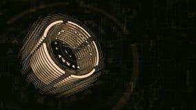 3D brünieren Zylinder sich dreht in Raum, Hintergrund ein Brett der elektrischen Ladung stock video