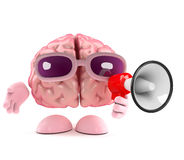 3d Brain announcement. 3d render of a brain with a loudhailer Royalty Free Stock Photos