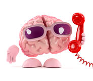 3d Brain answers the phone. 3d render of a brain holding a phone handset receiver Stock Images