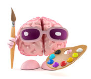 3d Brain artist. 3d render of a brain with a paintbrush and palette Stock Photography