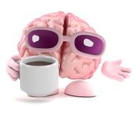 3d Brain break. 3d render of a brain with a cup of tea Stock Photos