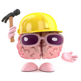 3d Brain builder. 3d render of a brain wearing a safety helmet and holding a hammer Royalty Free Stock Images