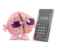 3d Brain calculates. 3d render of a brain with a calculator Stock Images