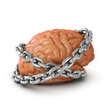 3d Brain chained. 3d render of a brain bound by chains Stock Photo