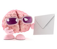 3d Brain character gets mail. 3d render of a brain character holding an envelope Royalty Free Stock Photos