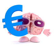 3d Brain character holds Euro currency symbol. 3d render of a brain character holding a Euro currency symbol Stock Images