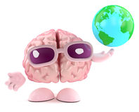 3d Brain character holds a globe of the Earth. 3d render of a brain character holding a globe of the Earth Stock Photos