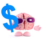 3d Brain character holds US Dollar symbol. 3d render of a brain character holding a US Dollar symbol Royalty Free Stock Images