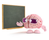 3d Brain class. 3d render of a brain standing next to a blackboard Royalty Free Stock Images