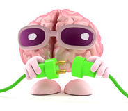 3d Brain connects the green energy. 3d render of a brain character connecting two green power leads Royalty Free Stock Photo
