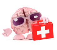 3d Brain first aid. 3d render of a brain holding a medical kit Stock Photo