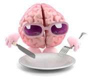 3d Brain food. 3d render of a brain with an empty plate Royalty Free Stock Photos