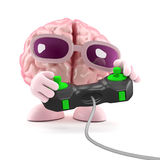 3d Brain games. 3d render of a brain playing a videogame Royalty Free Stock Image