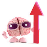 3d Brain growth. 3d render of a brain with a red upward pointing arrow Royalty Free Stock Images