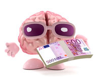 3d Brain has a stack of Euro bank notes Stock Images