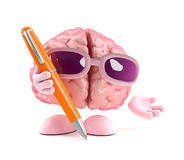 3d Brain holding a pen Royalty Free Stock Image