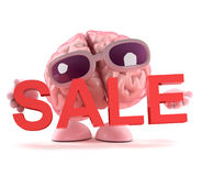 3d Brain holds a sale. 3d render of a brain character holding a Sale sign Royalty Free Stock Image