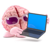 3d Brain laptop Royalty Free Stock Images