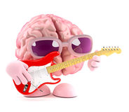 3d Brain is learning to play electric guitar Stock Photo