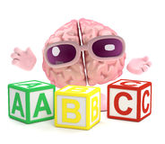 3d Brain learns the alphabet. 3d render of a brain with wooden alphabet blocks Royalty Free Stock Photo
