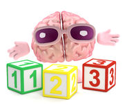3d Brain learns math. 3d render of a brain with wooden counting blocks Stock Images