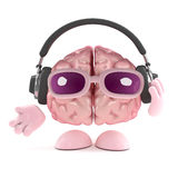 3d Brain listens to headphones Royalty Free Stock Photography