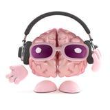 3d Brain listens to headphones. 3d render of a brain wearing headphones Royalty Free Stock Photography