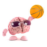 3d Brain loves basketball. 3d render of a brain throwing a basketball Stock Photography