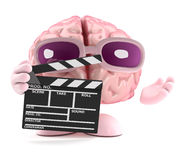 3d Brain makes a movie Royalty Free Stock Image